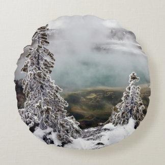 Snowy Yellowstone Round Cushion