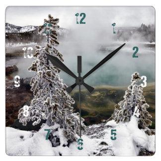 Snowy Yellowstone Square Wall Clock