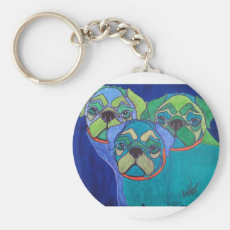 Snug as 3 Pugs Basic Round Button Key Ring
