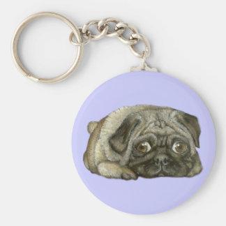 Snug as a pug basic round button key ring
