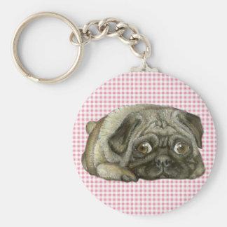 Snug pug basic round button key ring