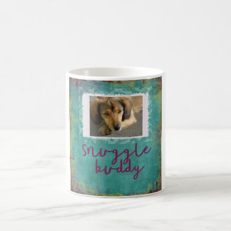 Snuggle Buddy Custom Teal Dog Photo Mug