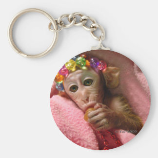 Snuggle Monkey Basic Round Button Key Ring