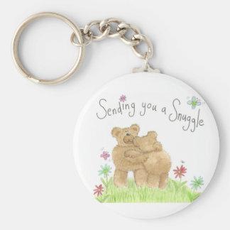 Snuggle Teddy key fob Basic Round Button Key Ring