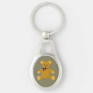 Snuggle the Teddy Bear Silver-Colored Oval Key Ring
