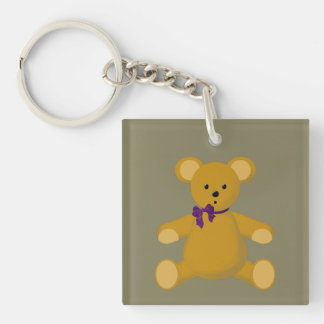 Snuggle the Teddy Bear Single-Sided Square Acrylic Key Ring