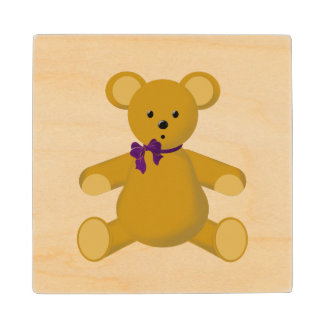 Snuggle the Teddy Bear Wood Coaster