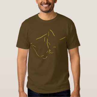 Snuggling Cats Line Art Design Tee Shirts
