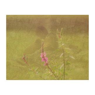 Snuggling Ducks Pink Flower Wood Wall Art