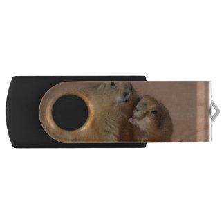 Snuggling Prairie Dogs Swivel USB 2.0 Flash Drive