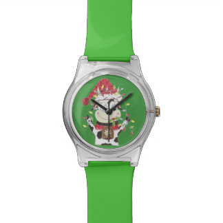 Snwowbell the cow & Xmas lights green watch