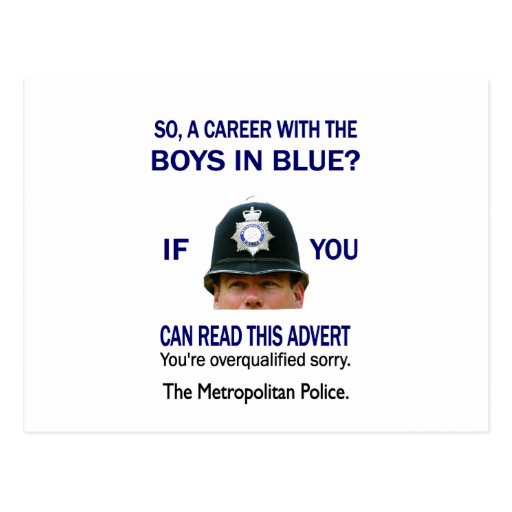 'So A Career With The Boys In Blue? Postcard