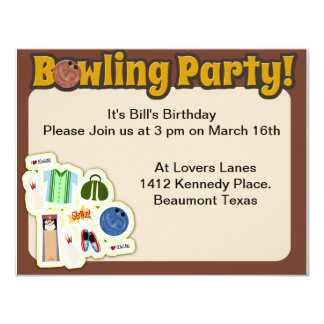 "So Cute Bowling Party Time 4.25"" X 5.5"" Invitation Card"