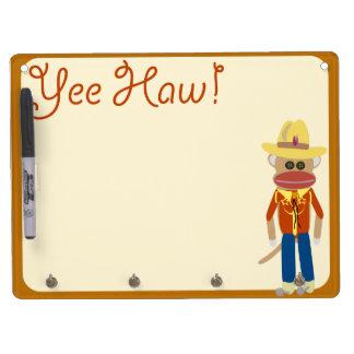 So Cute Cowboy Sock Monkey Dry-Erase Whiteboards
