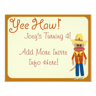 So Cute Cowboy Sock Monkey Invite