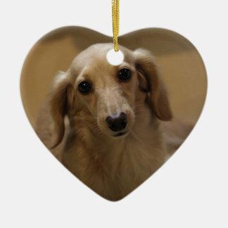 So Cute Dachschund Puppy Ceramic Heart Decoration