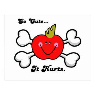 so cute it hurts apple postcard