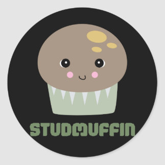so cute kawaii stud muffin round sticker