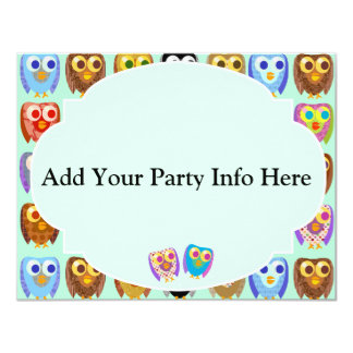 So Cute Owls 11 Cm X 14 Cm Invitation Card