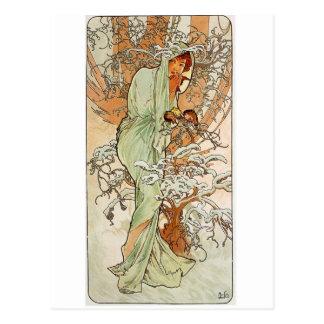 So cute winter girl postcard