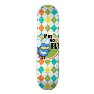 So Fly!  Colorful Argyle Pattern Skateboard