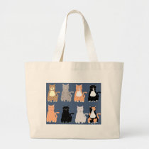 So Fun Cartoon Cats Large Tote Bag