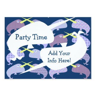 "So Fun Pattern Narwhal 5"" X 7"" Invitation Card"