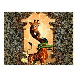 So funny, cute giraffe postcard
