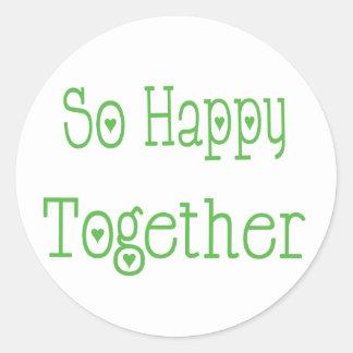 So Happy Together Love Green Wedding Sticker Round Sticker