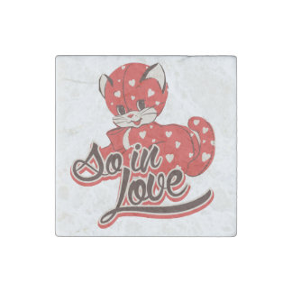 So in love kitten stone magnet