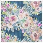 SO LUSCIOUS Colourful Navy Boho Floral Pattern Fabric