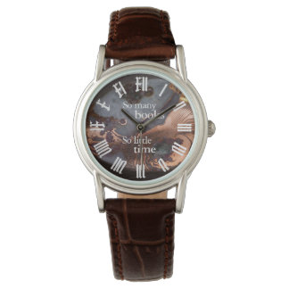 """so many books"" leather watch"