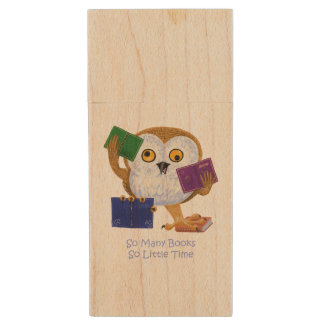 So many books so little time wood USB 2.0 flash drive