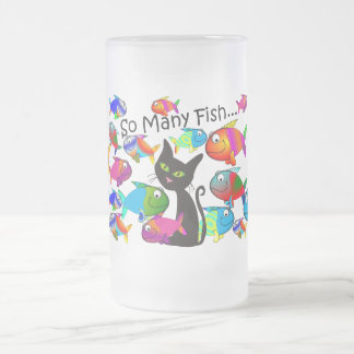 """So Many Fish"" Cat Lovers Gifts 16 Oz Frosted Glass Beer Mug"