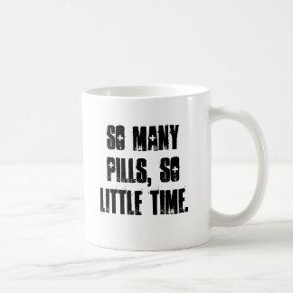 So many pills, so little time. basic white mug