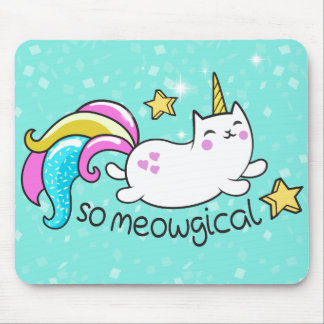So Meowgical Cute Unicorn kitty glitter sparkles Mouse Mat