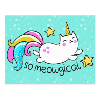 So Meowgical Cute Unicorn kitty glitter sparkles Postcard