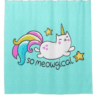 So Meowgical Cute Unicorn kitty glitter sparkles Shower Curtain