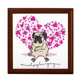 So Much Pug Love Going On Grumpy Pug Valentine Gift Box