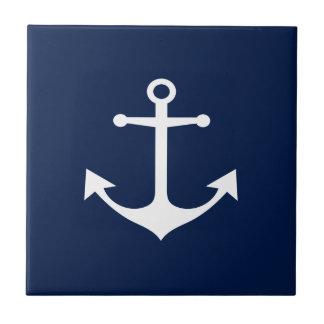 So Nautical - White Anchor on Blue Ceramic Tile