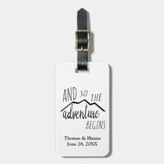 So The Adventure Begins Rustic Mountain Wedding Bag Tag