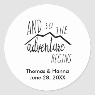 So The Adventure Begins Rustic Mountain Wedding Classic Round Sticker