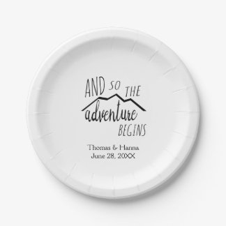 So The Adventure Begins Rustic Mountain Wedding Paper Plate