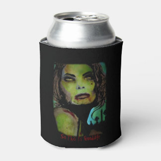 'So This Is Goodbye (Zombie)' painting on a Can Cooler
