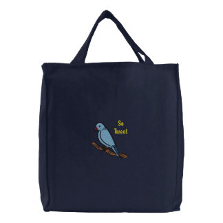 So Tweet So Sweet Blue Bird on Branch Embroidered Canvas Bag