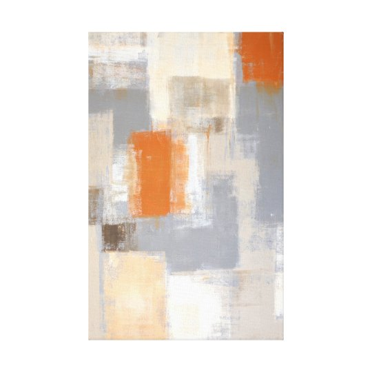 'So Unique' Orange and Beige Abstract Art Canvas Print