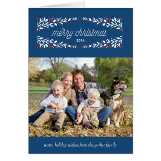 So very merry holiday photo card_Navy Greeting Card