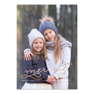 SO VERY MERRY ROSE GOLD Christmas Card 13 Cm X 18 Cm Invitation Card