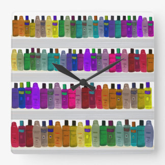 Soap Bottle Rainbow - for bathrooms, salons etc Square Wall Clock