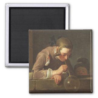 Soap Bubbles, c. 1733- 34 (oil on canvas) Square Magnet